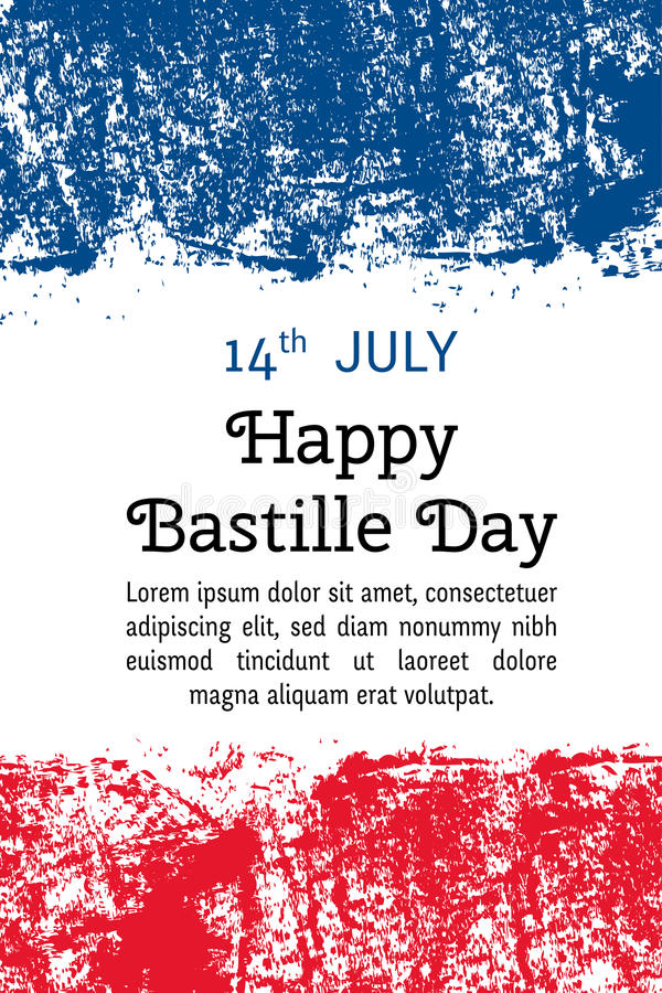 Vector illustration Bastille Day, French flag in trendy grunge style. 14 July design template for poster, banner, flayer. Greeting, invitation card stock illustration