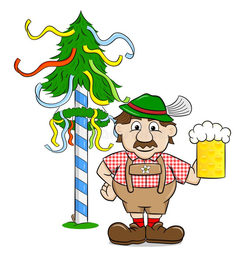 Bavarian with a beer and maypole. Vector illustration of a bavarian with a beer and maypole stock illustration