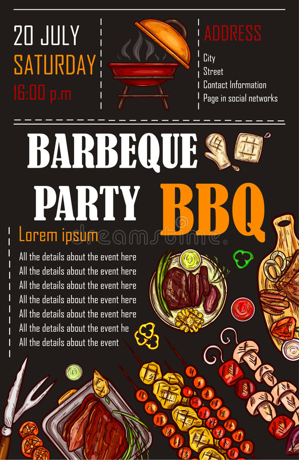 Vector illustration of a bbq menu template, invitation card on a barbecue, gift certificate stock illustration