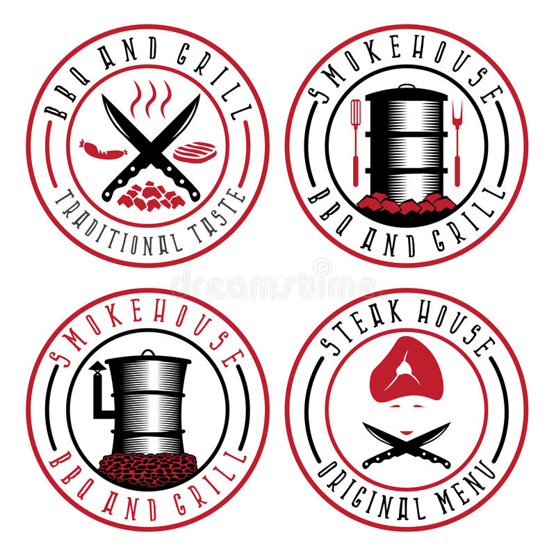 Vector illustration of BBQ , steakhouse and smokehouse label vector illustration