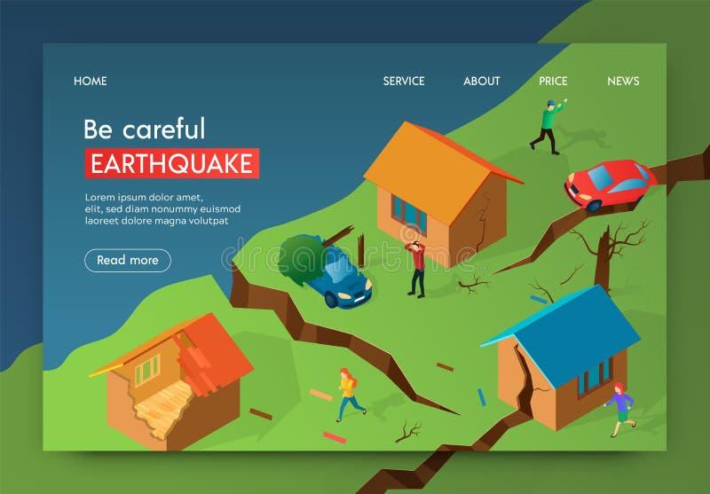 Vector Illustration Be Careful Earthquake Banner. stock illustration