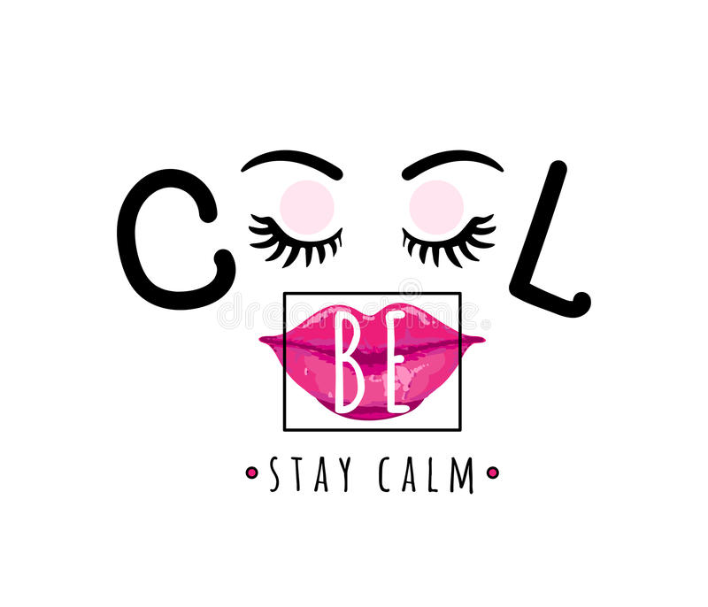 Vector illustration of be cool, stay calm inspirational quote background stock illustration