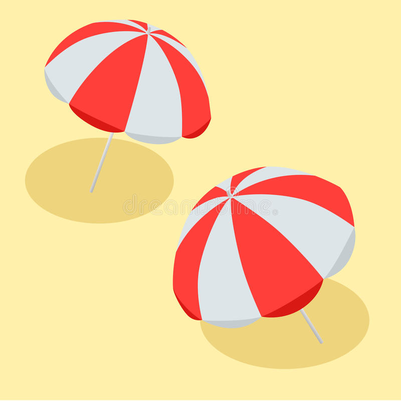 Vector illustration Beach Umbrella Red and White. The symbol of a holiday by the sea. Flat 3d vector isometric stock illustration