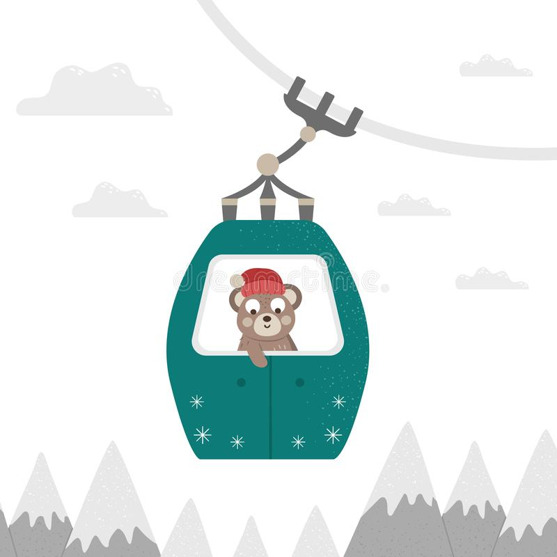 Vector illustration of a bear in cable car. Cute woodland animal doing winter activities. Funny forest character in funicular. Mountain holidays print or royalty free illustration