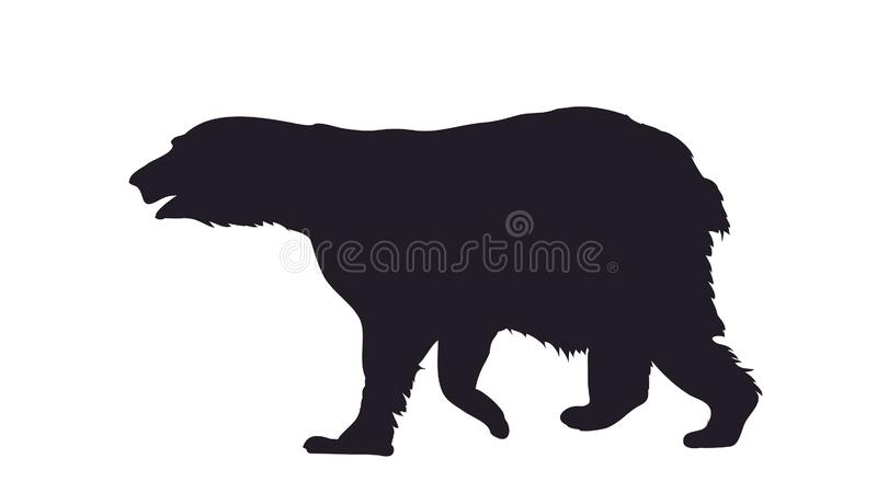 Vector illustration of a bear that stands, drawing silhouette royalty free illustration