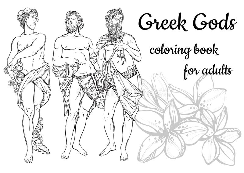 Vector illustration of beautiful antique Greek Gods isolated on a white background. Hand drawn vintage people in black outline style. Classicism. Coloring book royalty free illustration