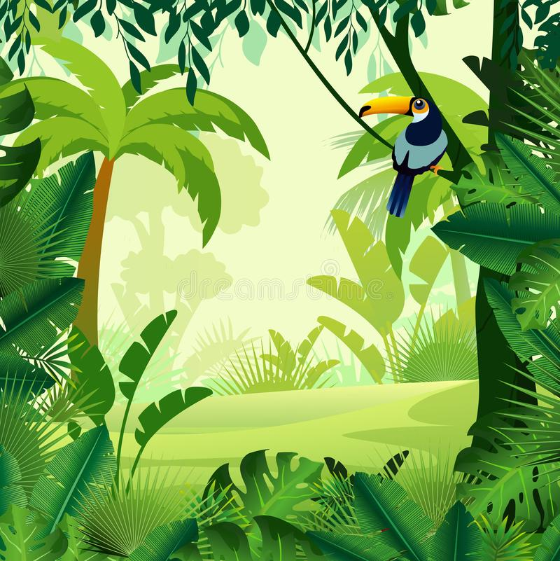 Vector illustration of beautiful background morning jungle. Bright jungle with ferns and flowers. For design game stock illustration