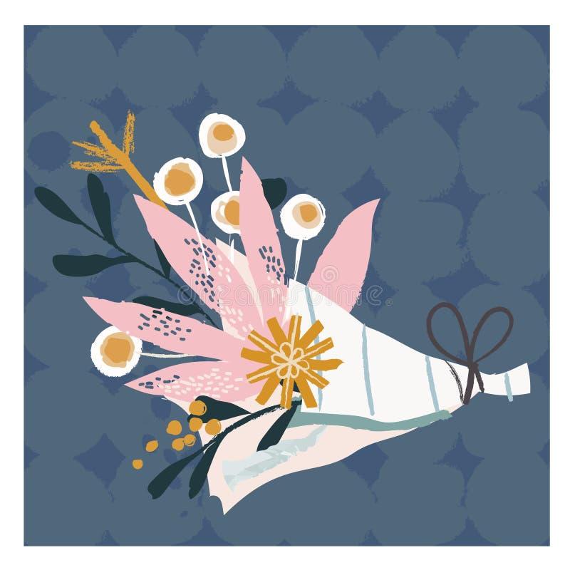 Vector illustration of beautiful bridal bouquet.Vector illustration hand drawn. royalty free illustration