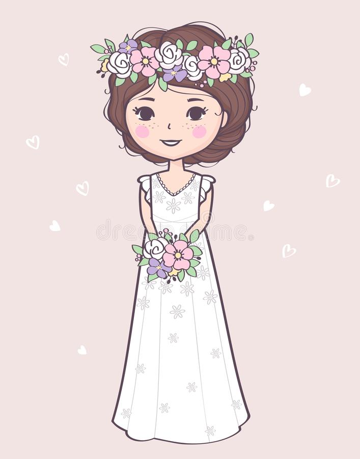Vector illustration with a beautiful bride in a wedding dress holding bouquet royalty free illustration