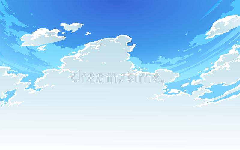 Vector illustration of beautiful bright cloudy sky in Anime Style. 2 royalty free stock image
