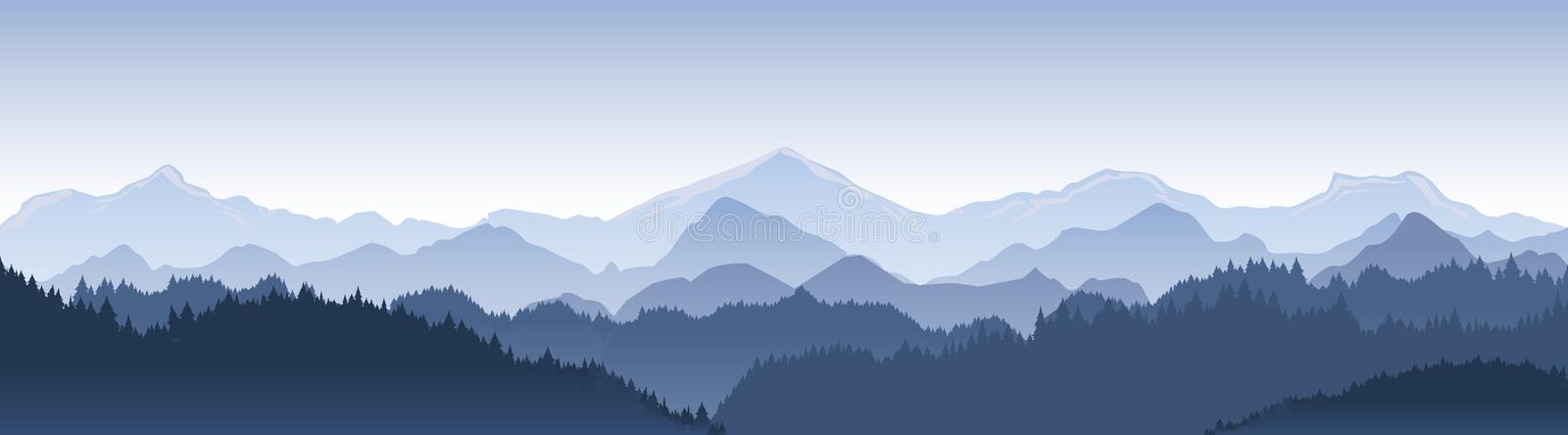 Vector illustration of beautiful dark blue mountain landscape with fog and forest. sunrise and sunset in mountains. royalty free illustration