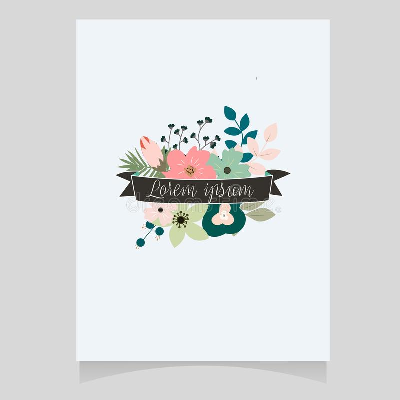 Vector illustration of a beautiful floral border with rose and flowers pastel colors element. For wedding invitations and birthday cards royalty free illustration