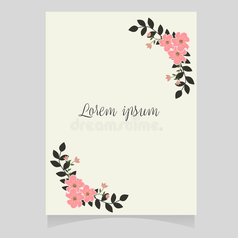 Vector illustration of a beautiful floral border with rose and flowers pastel colors element. For wedding invitations and birthday cards vector illustration