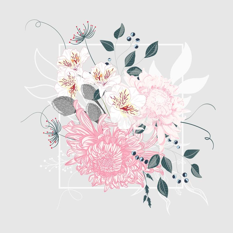 Vector illustration of a beautiful floral bouquet with Japanese chrysanthemum and white frame. stock illustration