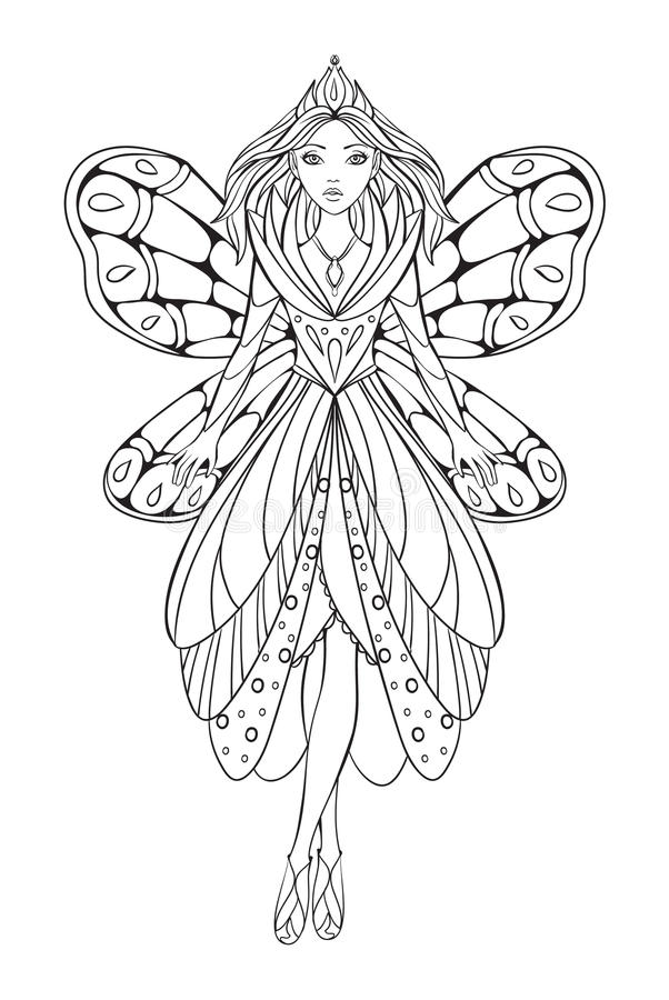 Vector illustration of a beautiful flower fairy queen for an adult coloring art therapy book vector illustration