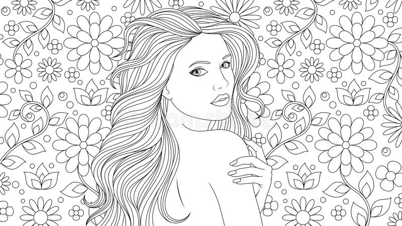 Beautiful Girl Coloring Pages Stock Vector Illustration Of Nature Elegance 127598988