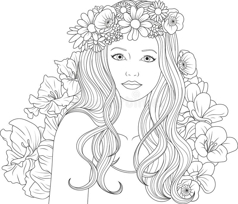 Girl Coloring Pages Stock Illustrations 1098 Girl Coloring