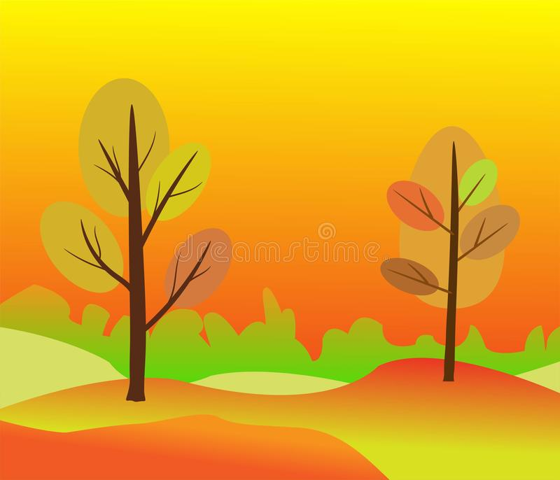 Vector illustration of beautiful golden autumn landscape on red yellow autumn colors background in modern elegant style with royalty free illustration