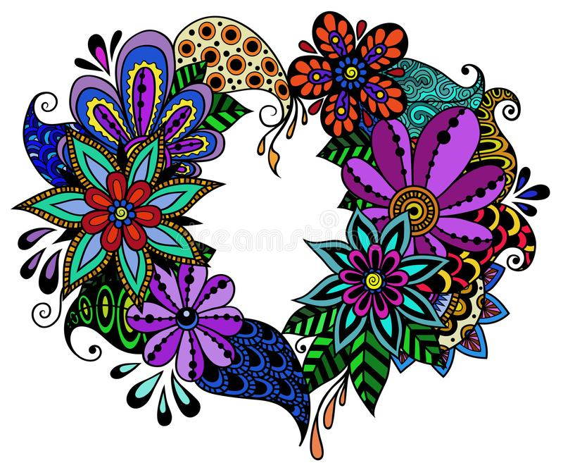 Vector illustration of beautiful hand drawn flowers and plants stock illustration