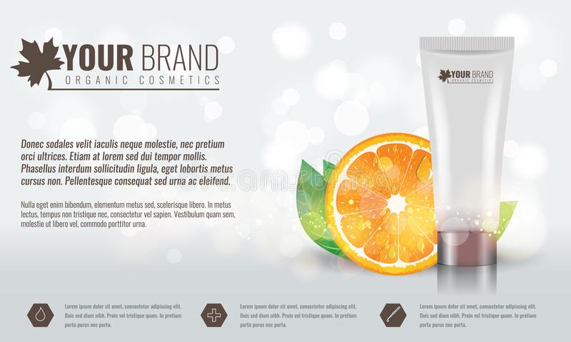 Vector illustration of Beautiful hydrating facial cream with citrus fruit, green leaf and water drops on it. Cosmetic. Ads on bubble background. Illustrated stock illustration