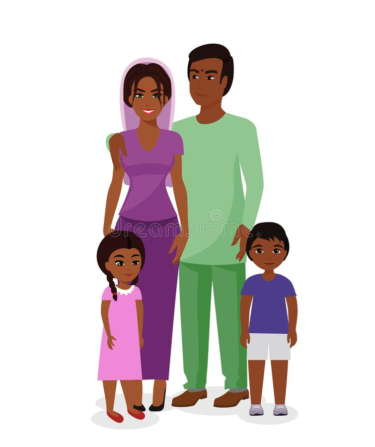 Vector illustration of beautiful Indian family. Happy Indian man and woman with boy and girl kids in traditional vector illustration
