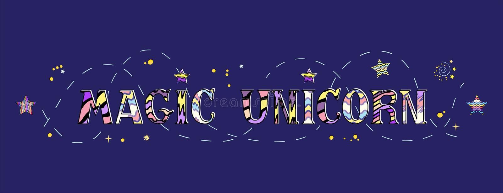 Vector illustration of beautiful lettering magic unicorn isolated on the blue royalty free illustration
