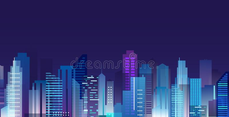 Vector illustration of beautiful night city, skyscrapers lights in night metropolis, skyline in flat style. stock illustration