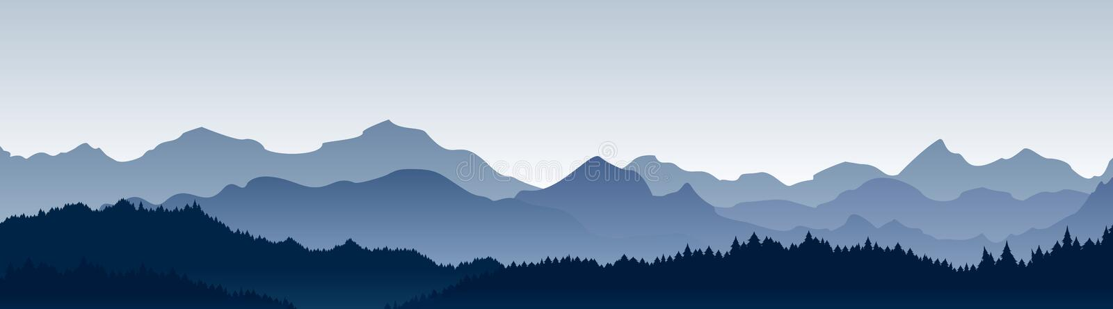 Vector illustration of beautiful panoramic view. Mountains in fog with forest, morning mountain background, landscape. stock illustration