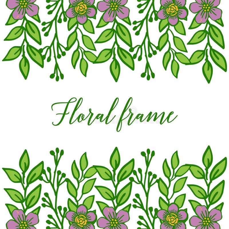 Vector illustration beautiful purple floral frame with green leaves on white background stock image