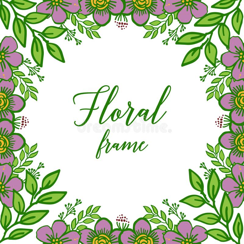 Vector illustration beautiful purple floral frame with green leaves on white background royalty free stock photography