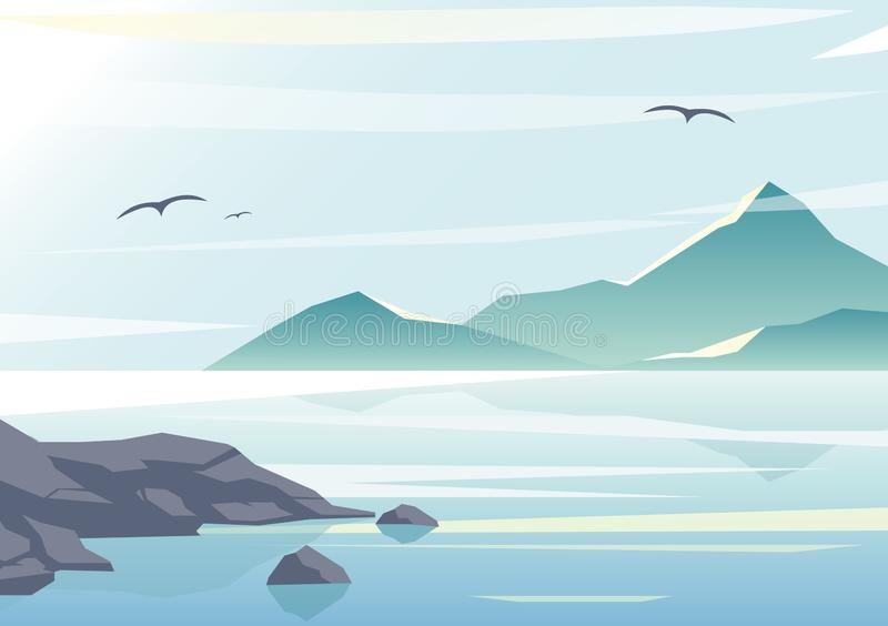 Vector illustration of beautiful sea view, water of the ocean, rocks on the beach, mountains and sky background in royalty free illustration
