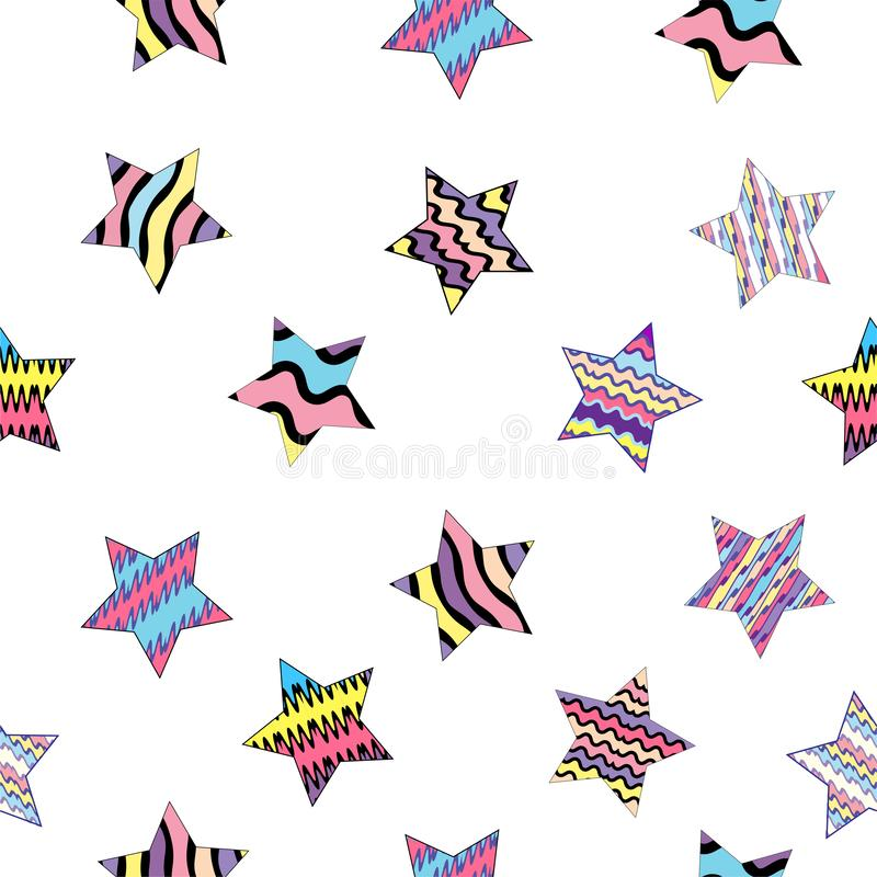 Vector illustration. Beautiful seamless pattern with multicolored striped stars on the transparent background royalty free illustration