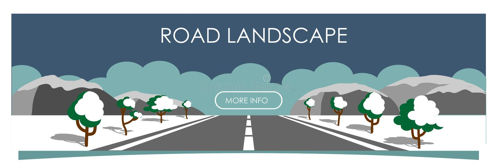 Vector illustration with beautiful  snowy winter landscape, road with asphalt, mountains and trees on the roadside. Vector illustration with beautiful snowy stock illustration