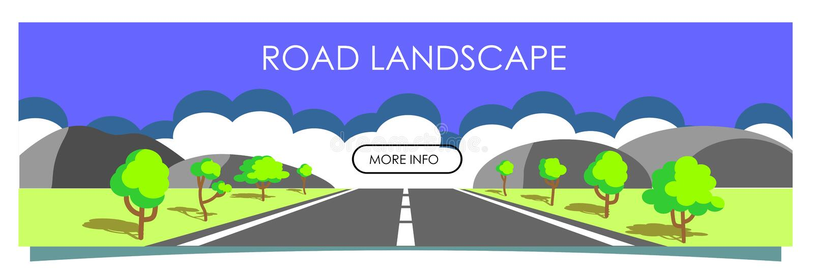 Vector illustration with beautiful summer  landscape, road with asphalt, mountains and trees on the roadside. Vector illustration with beautiful summer landscape royalty free illustration