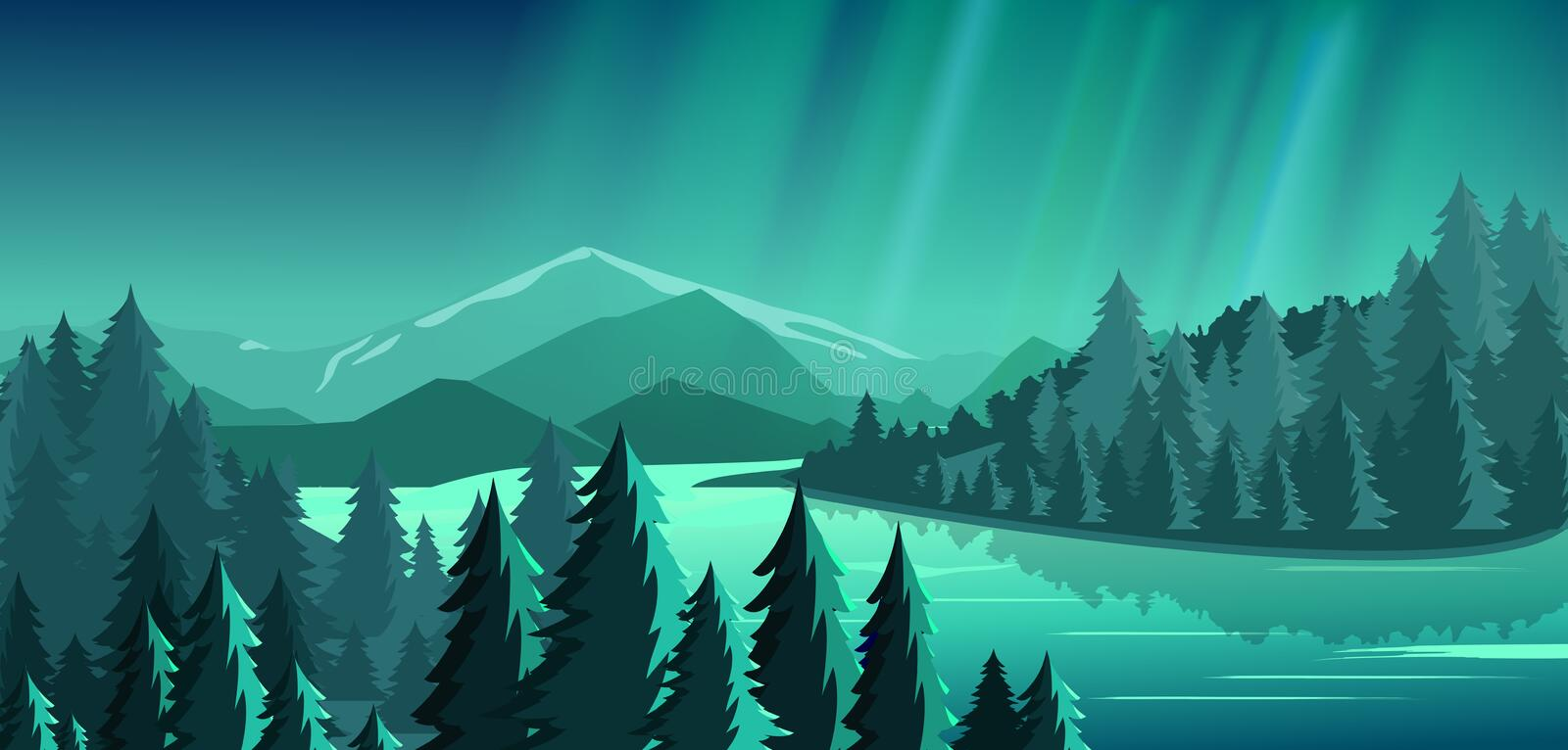 Vector illustration of beautiful view with forest, mountains, lake and Aurora blue sky with a lot of star, northern stock illustration