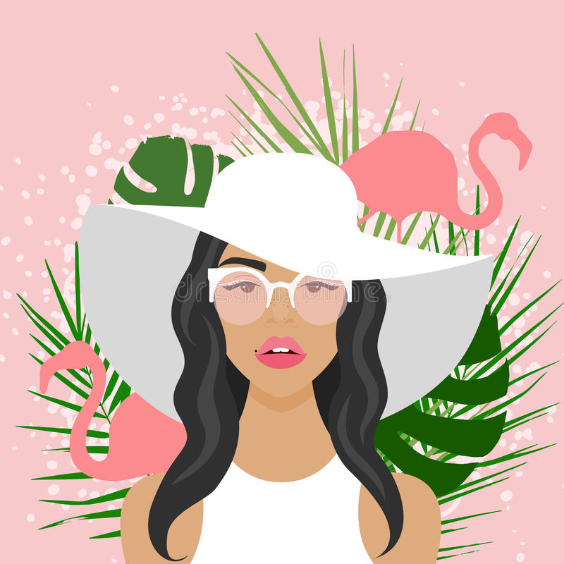 Vector illustration with beautiful woman with hat. Sunglasses, flamingo and palm leaves in flat style. Website avatar or fashion girl symbol vector illustration