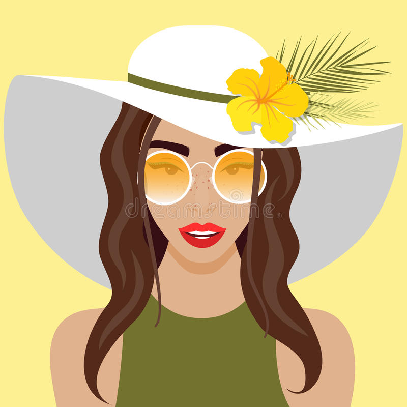 Vector illustration with beautiful woman with hat. Sunglasses and flower in flat style. Website avatar or fashion girl symbol vector illustration
