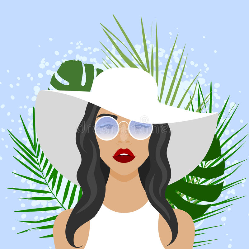Vector illustration with beautiful woman with hat. Sunglasses and palm leaves in flat style. Website avatar or fashion girl symbol stock illustration