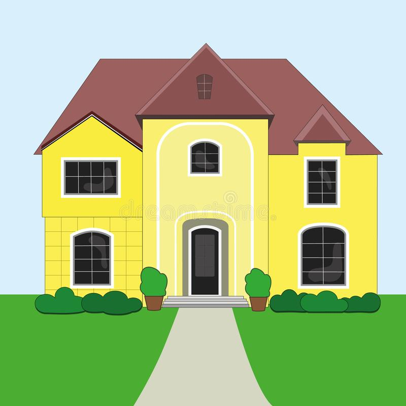 Vector illustration of a beautiful, yellow house. icon of the house. way home.  vector illustration
