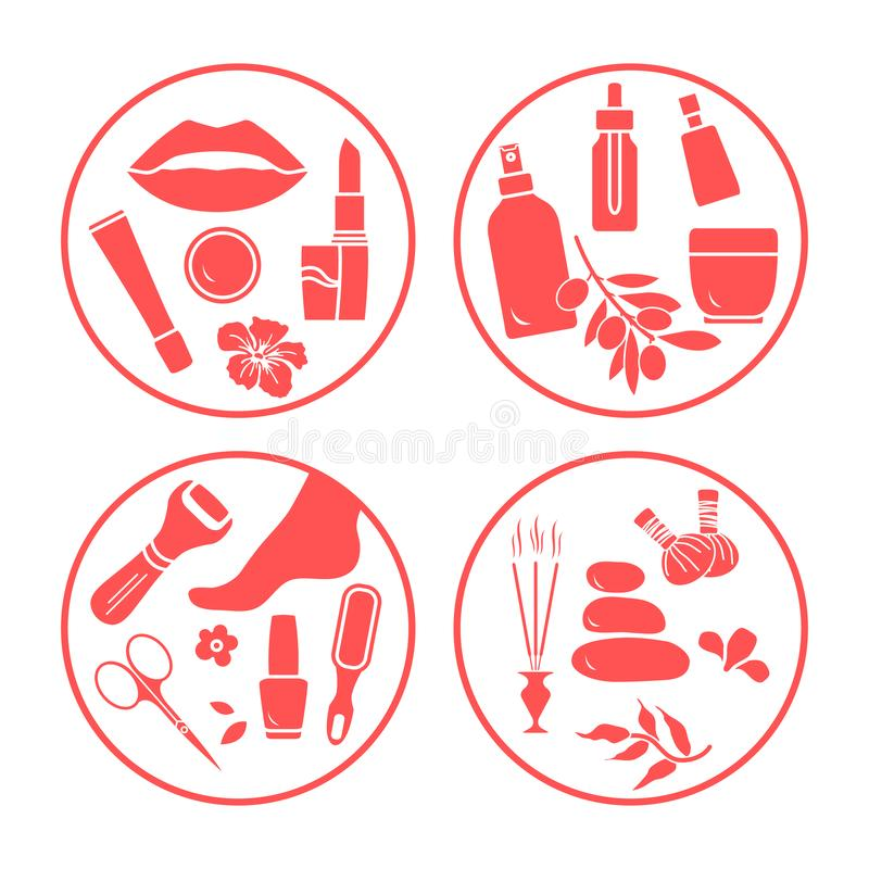 Beauty, care cosmetic products, pedicure, massage. Vector illustration with beauty and care cosmetic products, makeup, pedicure tools, massage accessories vector illustration