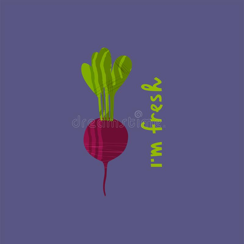 Vector illustration of beetroot. With hand drawn lettering on the topic of vegetarianism for t-shirt, poster, card and vegetarian cafe design stock illustration