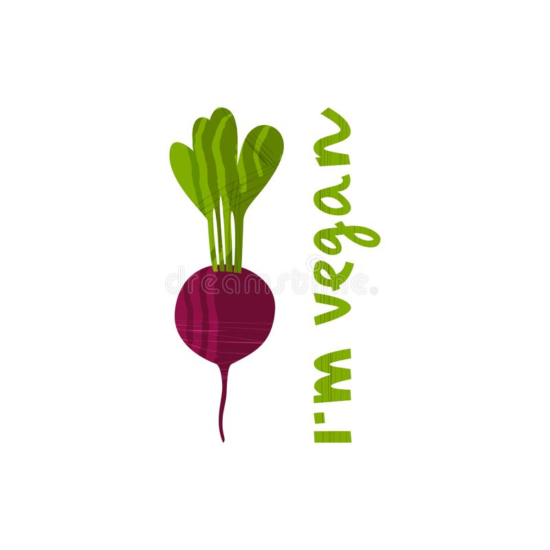 Vector illustration of beetroot. With hand drawn lettering on the topic of vegetarianism for t-shirt, poster, card and vegetarian cafe design vector illustration