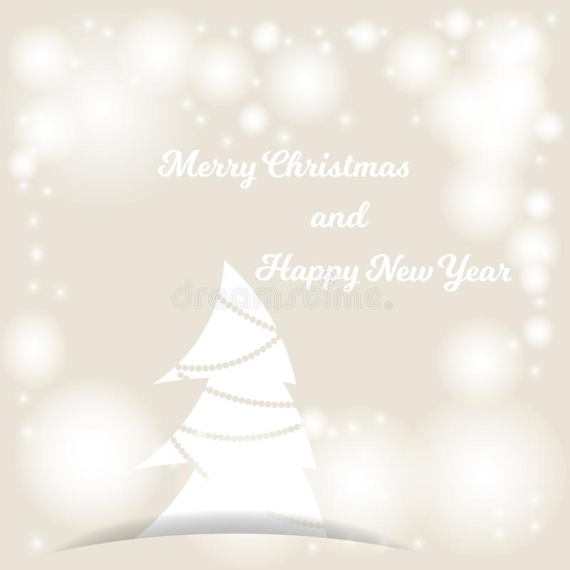 Beige background with bokeh and lights for festive greeting cards. Merry Christmas and Happy New Year vector illustration