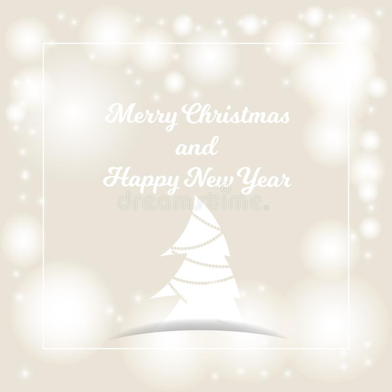 Beige background with bokeh and lights for festive greeting cards. Merry Christmas and Happy New Year royalty free illustration