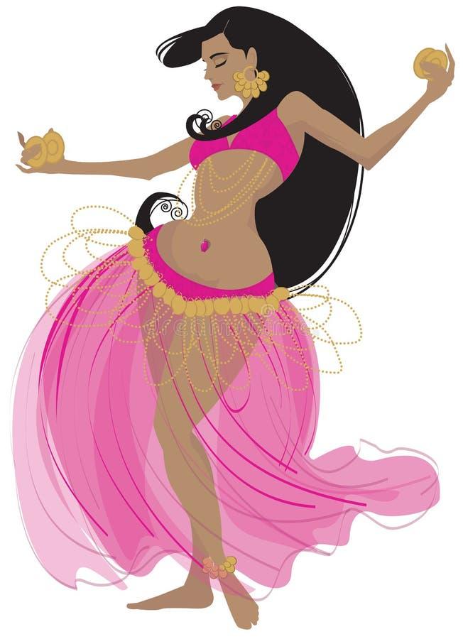Vector illustration of a belly dancer. Vector illustration of a beautiful belly dancer in pink stock illustration