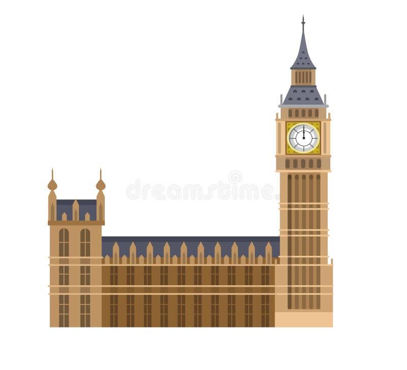 Vector illustration of the Big Ben. High quality, detailed most famous World landmark. Vector illustration of the Big Ben, the symbol of London and United stock illustration
