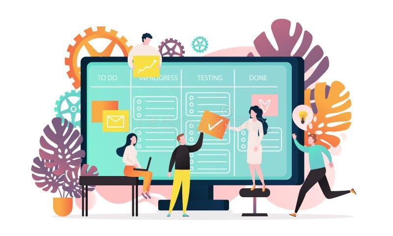 Kanban vector concept for web banner, website page vector illustration