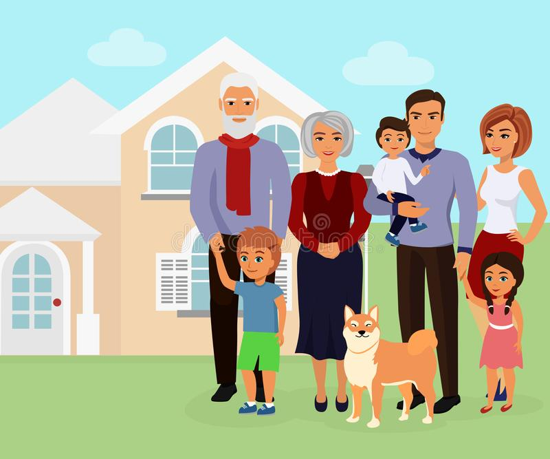 Vector illustration of big happy caucasian family with many children, mother, father with grandmother and grandfather. Dog. Kids with parents near the house in vector illustration