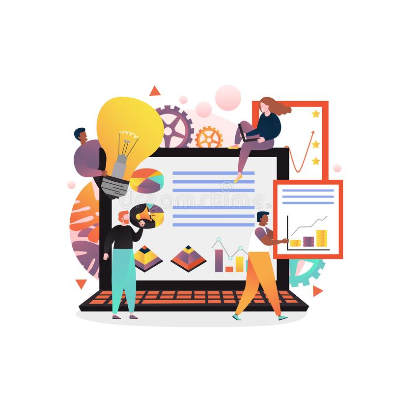 Workflow process vector concept for web banner, website page. Vector illustration of big laptop and tiny people monitoring statistical dashboard, holding light stock illustration