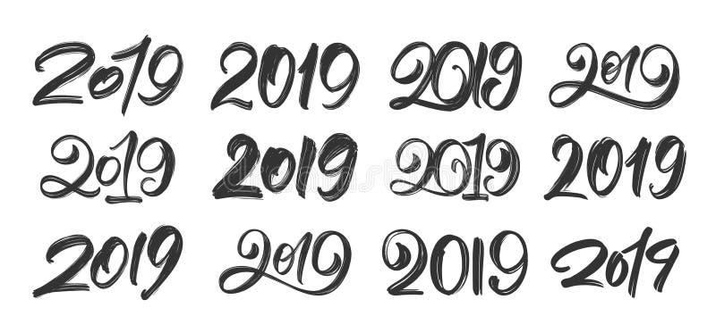 Vector illustration: Big Set of Handwritten brush type lettering of 2019. Happy New Year. Chines calligraphy. Vector illustration: Big Set of Handwritten brush royalty free illustration